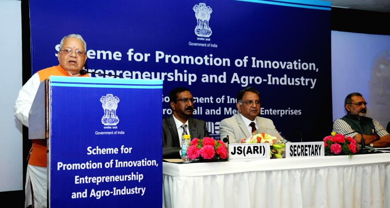The Union Minister for Micro, Small and Medium Enterprises Kalraj Mishra addresses at the launch of the Scheme for Promoting Innovation, Entrepreneurship and Agro Industry, in New Delhi on ... - Enterprises Kalraj Mishra and Enterprises Giriraj Singh