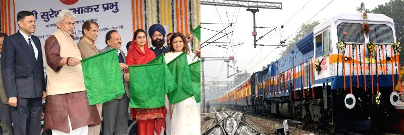 The Union Minister for Railways Suresh Prabhakar Prabhu flaggs off the new Shatabdi Express train between New Delhi and Bhatinda during a ceremony, at New Delhi Railway station in New ... - Suresh Prabhakar Prabhu, Harsimrat Kaur Badal and Manoj Sinha