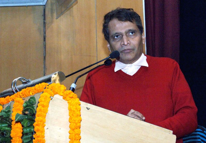 The Union Minister for Railways Suresh Prabhakar Prabhu addresses at the inauguration of the Musical Fountain Toy Train and Renovated Exhibits, at National Railway Museum, in New Delhi on . - Suresh Prabhakar Prabhu