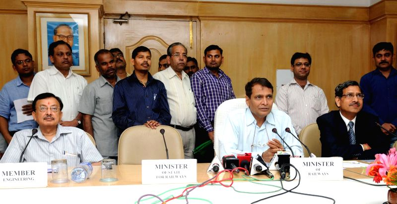 The Union Minister for Railways Suresh Prabhakar Prabhu addresses at the flagging-off ceremony of the Lumding - Silchar Broad Gauge section (Assam) of 210 kilometres in North Eastern ... - Suresh Prabhakar Prabhu
