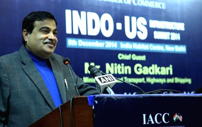 The Union Minister for Road Transport and Highways and Shipping Nitin Gadkari addresses at Indo-US Infrastructure Summit 2014, organised by the Indo-American Chamber of Commerce, in New ...