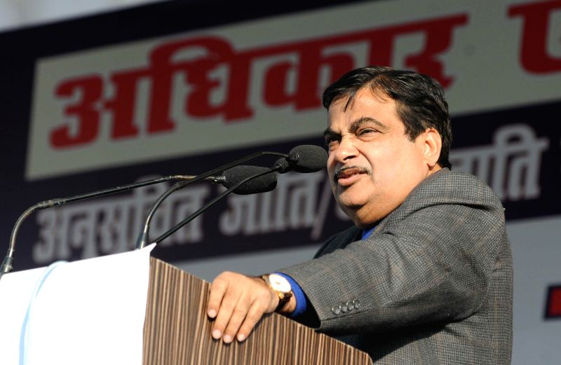 The Union Minister for Road Transport and Highways and Shipping, Nitin Gadkari addresses during a rally organised to press for the Rights and Dignity of Dalits a at Ramlila Ground in New ..
