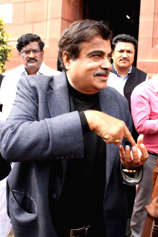 The Union Minister for Road Transport and Highways, and Shipping Nitin Gadkari at the Parliament on the second day of the budget session in New Delhi, on Feb 24, 2015.