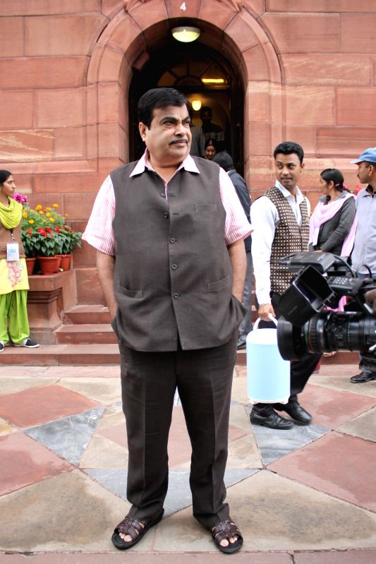 The Union Minister for Road Transport and Highways, and Shipping  and BJP leader Nitin Gadkari at the Parliament in New Delhi, on March 3, 2015.