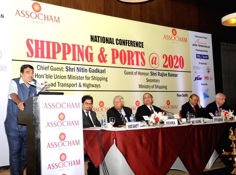 The Union Minister for Road Transport and Highways, and Shipping, Nitin Gadkari addresses at a national conference on `Shipping & Ports @ 2020`, in New Delhi on March 18, 2015.