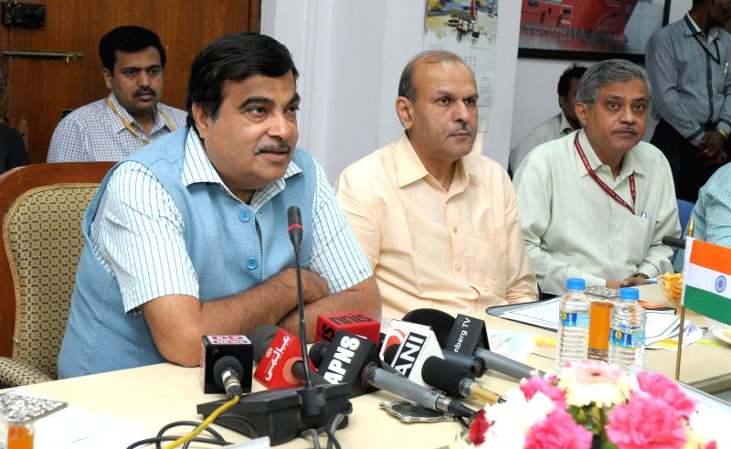 The Union Minister for Road Transport and Highways, and Shipping Nitin Gadkari briefs the media at the signing ceremony of a Memorandum of Cooperation for a India-US Transportation ...