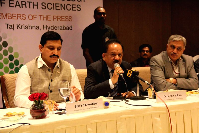 The Union Minister for Science and Technology and Earth Sciences, Dr. Harsh Vardhan addresses a press conference in New Delhi, on Jan 8, 2015.