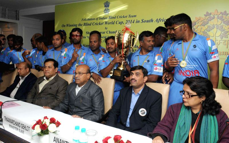 The Union Minister for Social Justice and Empowerment, Thaawar Chand Gehlot and the Minister of State for Youth Affairs and Sports (Independent Charge), Sarbananda Sonowal during a ...