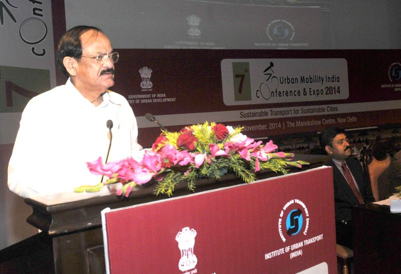 The Union Minister for Urban Development, Housing and Urban Poverty Alleviation and Parliamentary Affairs, M. Venkaiah Naidu addresses at the inauguration of the 'Urban Mobility India ... - M. Venkaiah Naidu