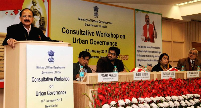 The Union Minister for Urban Development, Housing and Urban Poverty Alleviation and Parliamentary Affairs M. Venkaiah Naidu addresses at the inauguration of the Consultative Workshop on ... - M. Venkaiah Naidu