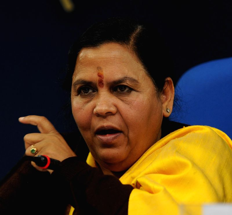 The Union Minister for Water Resources, River Development and Ganga Rejuvenation Uma Bharti addresses a press conference, in New Delhi on Jan 12, 2015.