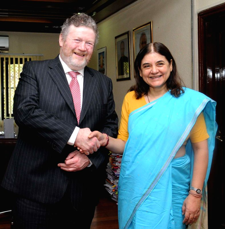 The Union Minister for Women and Child Development Maneka Sanjay Gandhi meets the Minister for Children and Youth Affairs of Ireland James Reilly, T.D., in New Delhi on March 20, 2015.