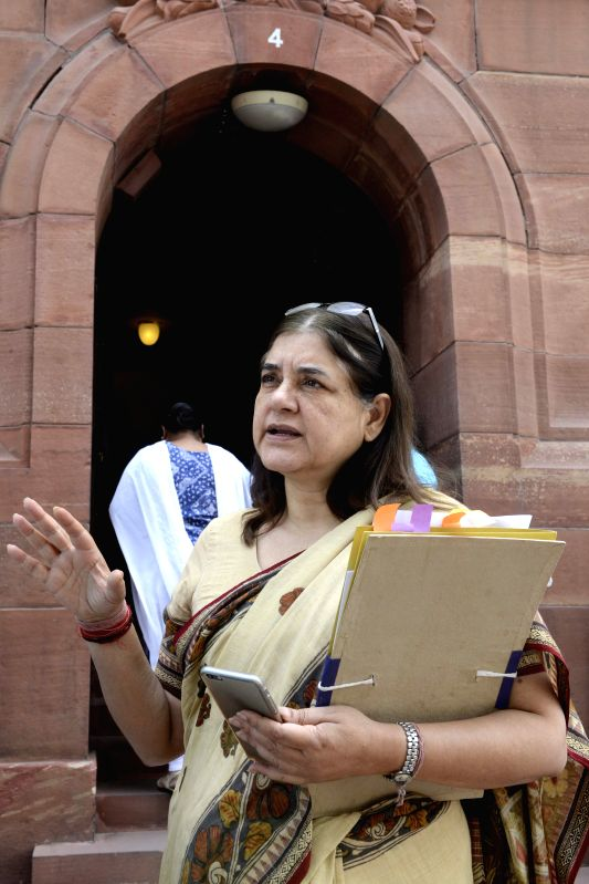 The Union Minister for Women and Child Welfare Maneka Gandhi at the Parliament house in New Delhi, on April 24, 2015. - Welfare Maneka Gandhi