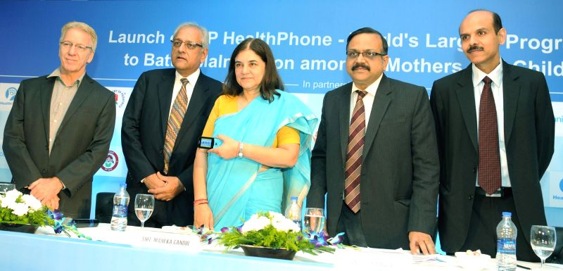 The Union Minister for Women and Child Development Maneka Gandhi launches IAP-HealthPhone, in New Delhi on June 02, 2015. - Development Maneka Gandhi