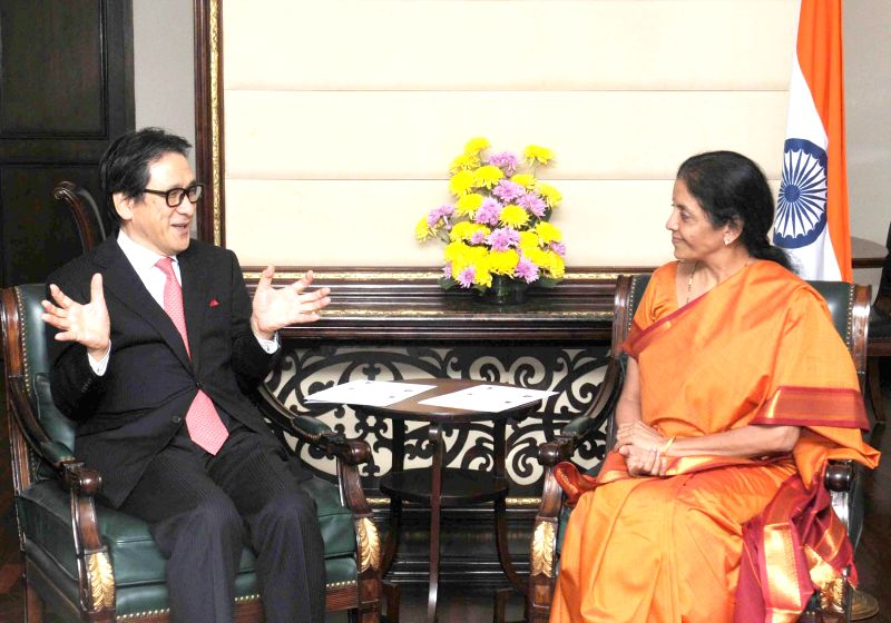 The Union Minister of State for Commerce and Industry (Independent Charge), Nirmala Sitharaman meets the Chairman and CEO of Japan External Trade Organization (JETRO), Hiroyuki Ishige, in .