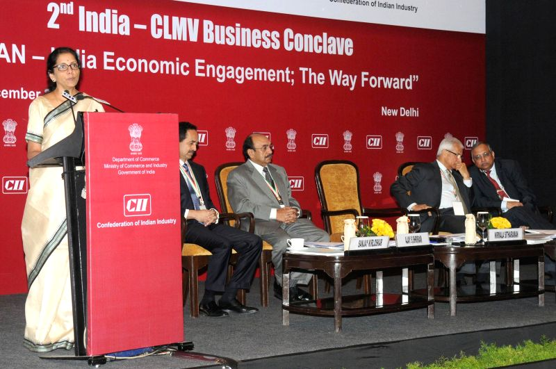 The Union Minister of State for Commerce and Industry (Independent Charge), Nirmala Sitharaman addresses at the 2nd India-Cambodia, Laos, Myanmar, Vietnam (CLMV) Conclave, in New Delhi on . - Rajeev Kher