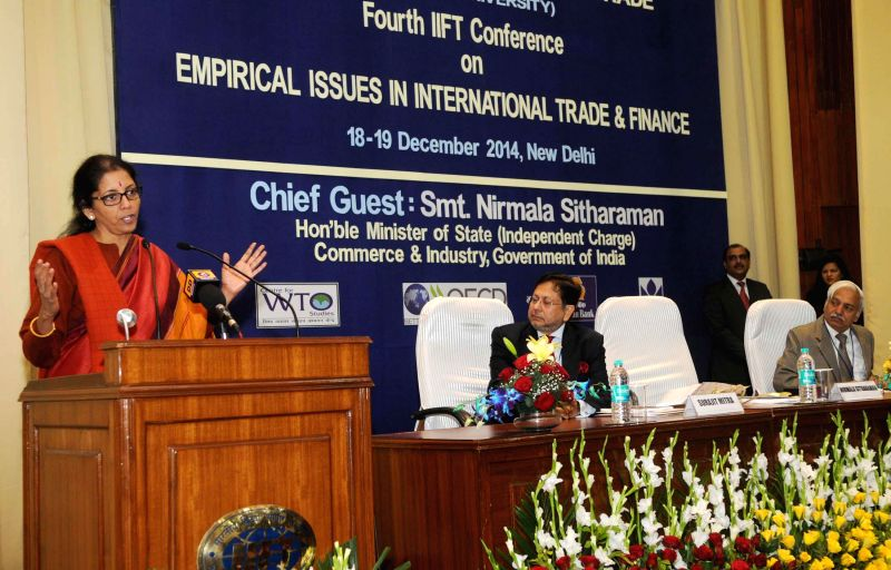 The Union Minister of State for Commerce and Industry (Independent Charge), Nirmala Sitharaman addresses during a Research Conference on `Empirical Issues in International Trade and ...