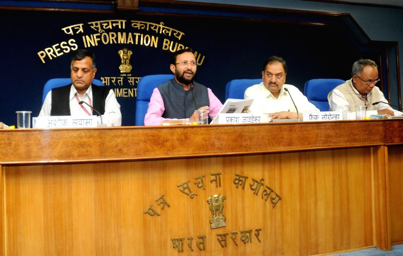 The Union Minister of State for Environment, Forest and Climate Change (Independent Charge) Prakash Javadekar addresses a press conference, in New Delhi on Feb 23, 2015.