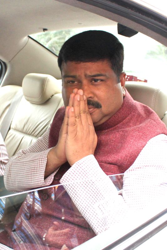 The Union Minister of State for Petroleum and Natural Gas (Independent Charge) Dharmendra Pradhan at the Parliament on the second day of the budget session in New Delhi, on Feb 24, 2015.