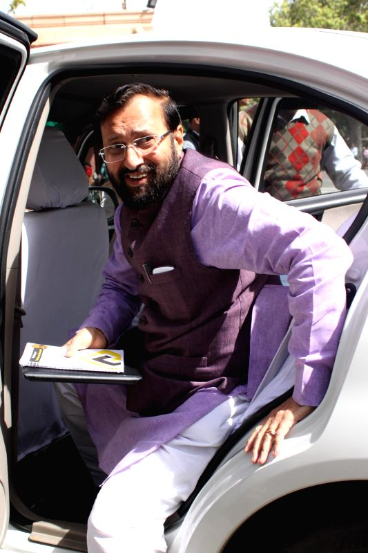 The Union Minister of State for Environment, Forest and Climate Change (Independent Charge) Prakash Javadekar at the Parliament in New Delhi, on March 9, 2015.