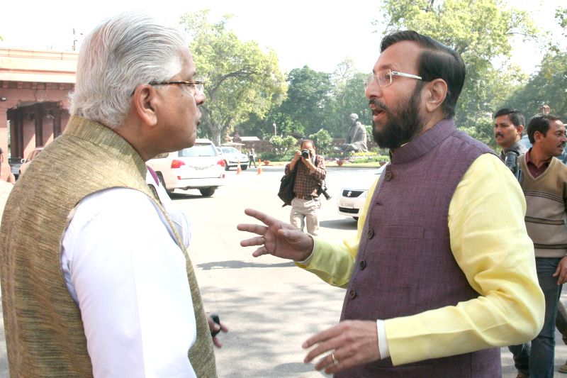 The Union Minister of State for Environment, Forest and Climate Change (Independent Charge) Prakash Javadekar  and Congress MP Ashwani Kumar at the Parliament in New Delhi, on March 12, ...