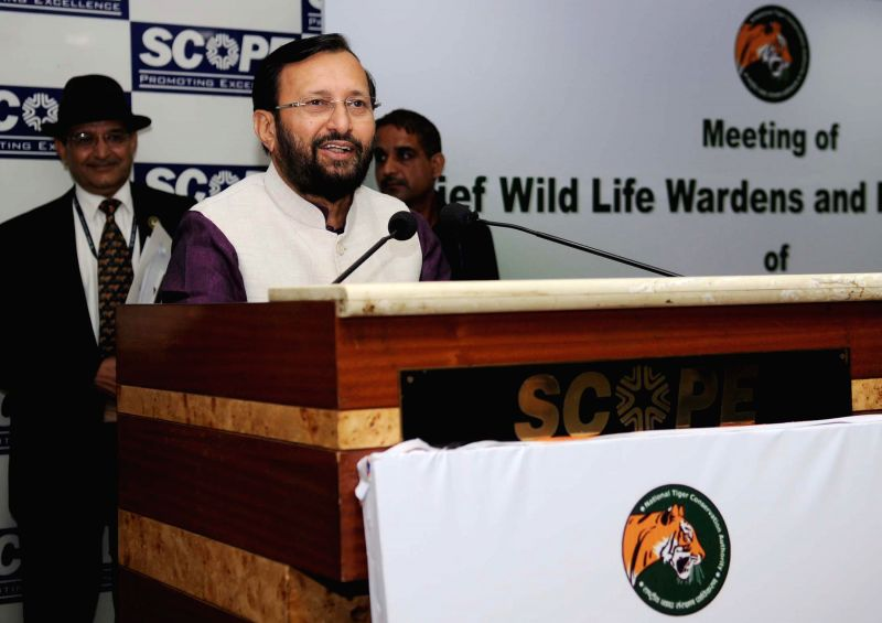 The Union Minister of State for Environment, Forest and Climate Change (Independent Charge), Prakash Javadekar addresses at the meeting of the Chief Wildlife Wardens of Tiger Range States ...