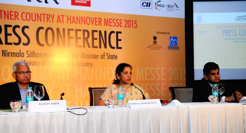 The Union Minister of State for Commerce and Industry (Independent Charge) Nirmala Sitharaman addresses at the Curtain Raiser Press Conference on Hannover Messe 2015, in New Delhi on March ... - Secretary Rajeev Kher