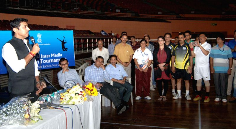 The Union Minister of State for Information and Broadcasting, Col. Rajyavardhan Singh Rathore addresses at the inauguration of the 2nd All India Inter Media Badminton Tournament, organised ...