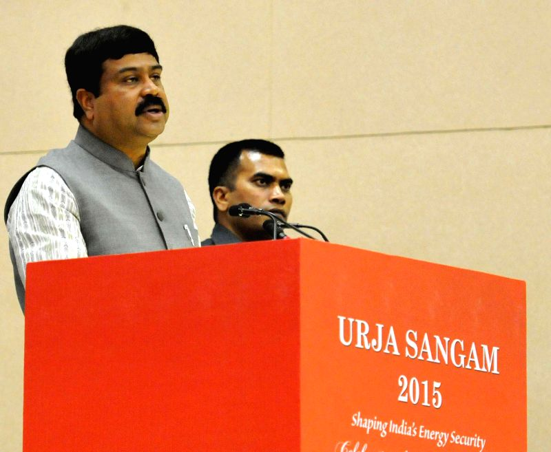 The Union Minister of State for Petroleum and Natural Gas (Independent Charge), Dharmendra Pradhan addresses at the inauguration of the `Urja Sangam`, a summit dedicated to energy, in New ...