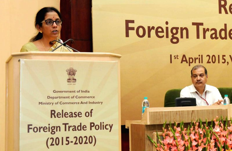 The Union Minister of State for Commerce and Industry Nirmala Sitharaman addresses press at the release of the `Foreign Trade Policy 2015-2020`, in New Delhi on April 1, 2015.