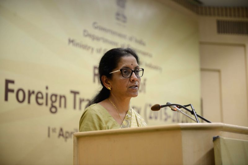 The Union Minister of State for Commerce and Industry Nirmala Sitharaman addresses during a programme organised to release the `Foreign Trade Policy 2015-2020`, in New Delhi on April 1, ...