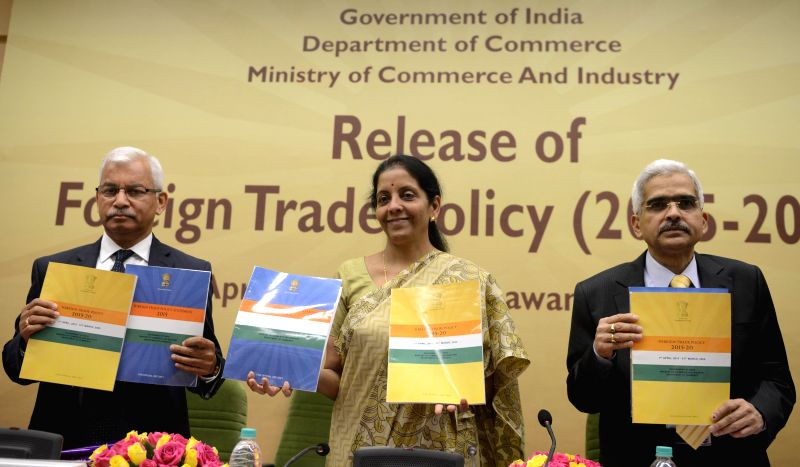 The Union Minister of State for Commerce and Industry Nirmala Sitharaman, Commerce Secretary Rajeev Kher and Revenue Secretary ShashiKant Das during a programme organised to release the ... - Secretary Rajeev Kher