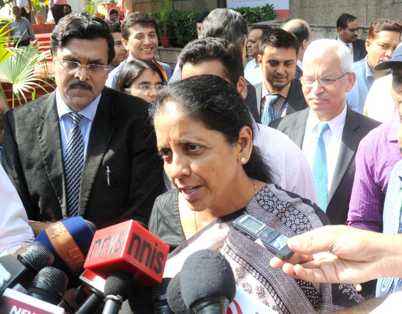 The Union Minister of State for Commerce and Industry (Independent Charge), Nirmala Sitharaman talks to the press at the Valedictory Session of Global Exhibition on Services, in New Delhi ...