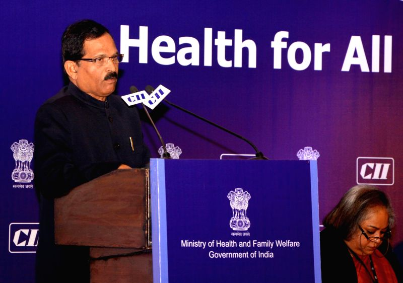 The Union Minister of State for AAYUSH (Independent Charge) and Health and Family Welfare Shripad Yesso Naik addresses at the 11th India Health Summit: Health for All-Call to Action, ...