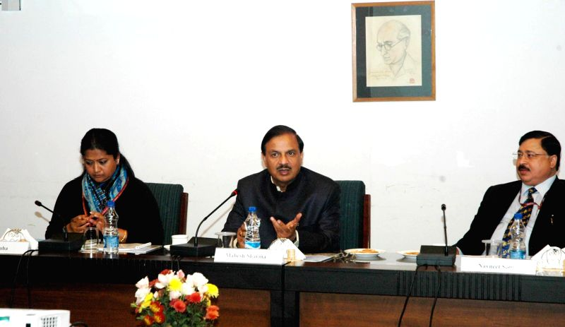 The Union Minister of State for Culture (Independent Charge), Tourism (Independent Charge) and Civil Aviation, Dr. Mahesh Sharma addresses during his visit to the Nehru Memorial Museum ...