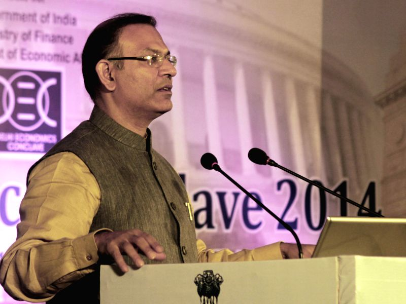 The Union Minister of State for Finance, Jayant Sinha addresses at the inauguration of the two-day `Delhi Economics Conclave 2014`, in New Delhi on Dec 10, 2014. - Jayant Sinha