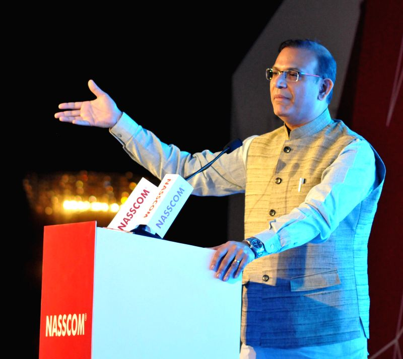 The Union Minister of State for Finance Jayant Sinha addresses at the Silver Jubilee Celebration Ceremony of NASSCOM, in New Delhi on March 1, 2015. - Jayant Sinha