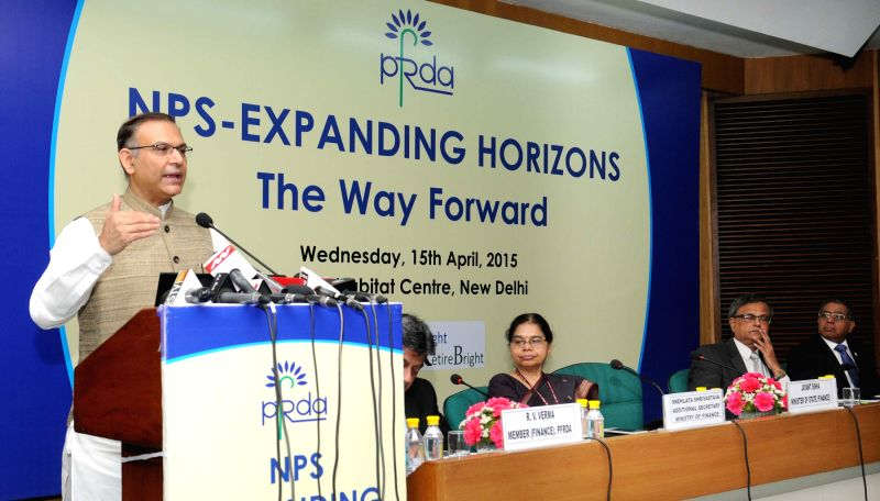 The Union Minister of State for Finance Jayant Sinha addresses at the inauguration of a Conference for NPS Corporates, in New Delhi on April 15, 2015.
