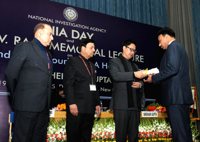 The Union Minister of State for Home Affairs Kiren Rijiju during the NIA Day programme and the 2nd R.V. Raju Memorial Lecture on `Pakistan and Neighborhood: A Hawkish Agenda`, in New Delhi