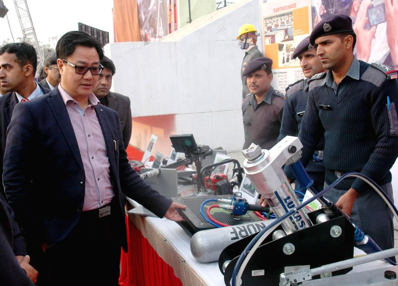 The Union Minister of State for Home Affairs Kiren Rijiju at the National Disaster Response Force (NDRF) Demonstration Function, in New Delhi on Jan 21, 2015.