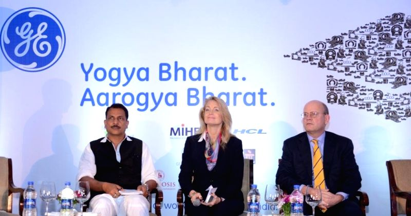 The Union Minister of State for Skill Development and Entrepreneurship Rajiv Pratap Rudy, GE Healthcare India President and CEO Terri Bresenham and GE Healthcare President and Chief ...
