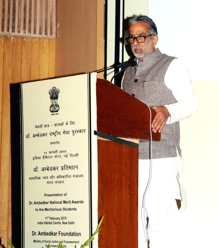 The Union Minister of State for Social Justice and Empowerment Krishan Pal addresses at the presentation ceremony of the Dr. Ambedkar National Merit Awards for meritorious students of ...