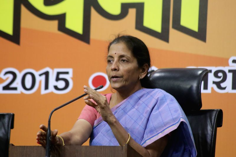 The Union Minister of State for Trade and Commerce Nirmala Sitharaman addresses a press conference in New Delhi, on April 10, 2015.