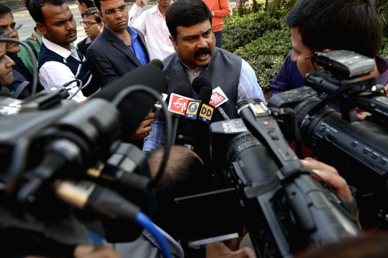 The Union Minister of State (Independent Charge) for Petroleum and Natural Gas, Dharmendra Pradhan interacts with press in New Delhi on Dec 3, 2014.