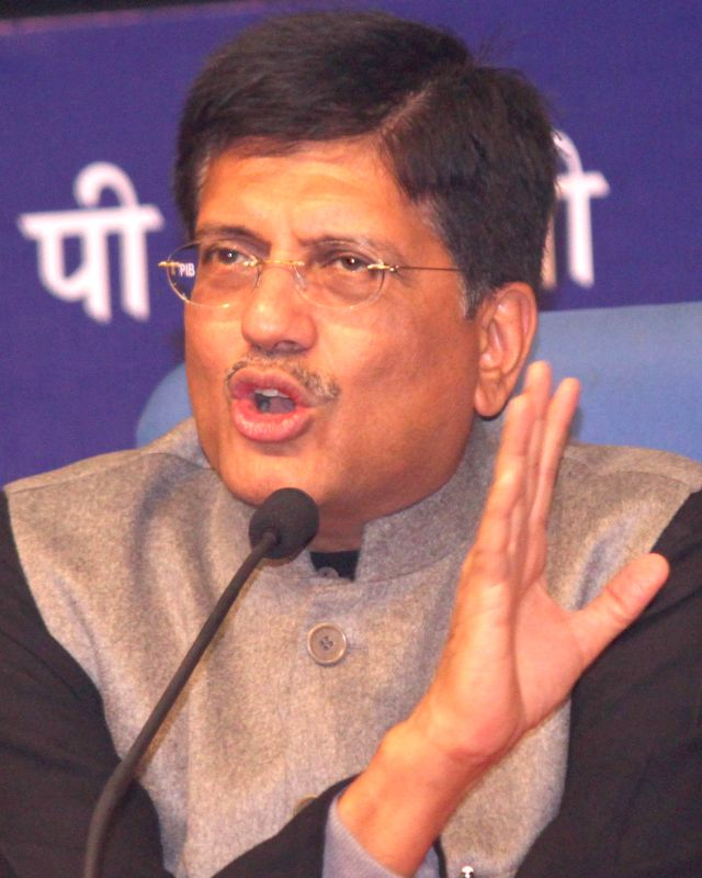 The Union Minister of State (Independent Charge) for Power, Coal and New and Renewable Energy Piyush Goyal addresses at the launch of an e-book on Jan 8, 2015. 