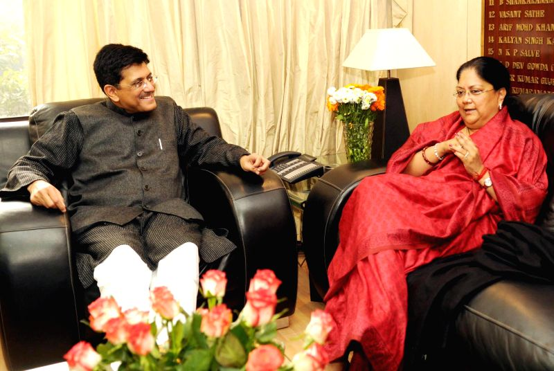 The Union Minister of State (Independent Charge) for Power, Coal and New and Renewable Energy, Piyush Goyal meets the Chief Minister of Rajasthan, Vasundhara Raje Scindia, in New Delhi on .