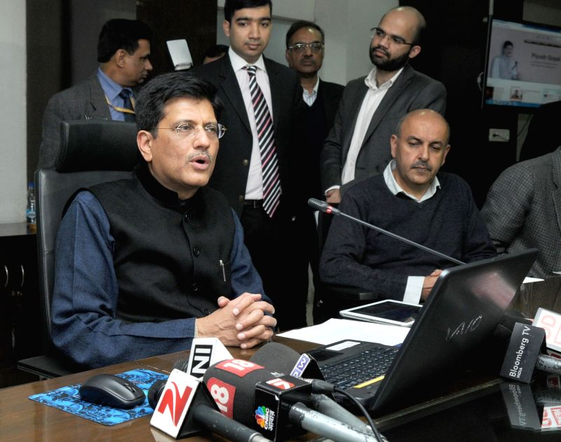 The Union Minister of State (Independent Charge) for Power, Coal and New and Renewable Energy Piyush Goyal addresses press in New Delhi, on Jan 20, 2015.