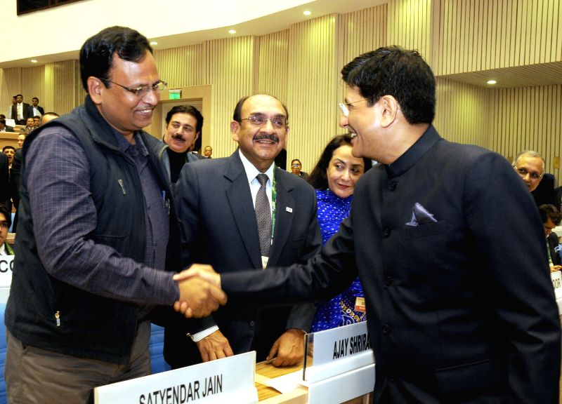 The Union Minister of State (Independent Charge) for Power, Coal and New and Renewable Energy Piyush Goyal with Delhi Power Minister Satyendra Jain at the inauguration the first Renewable . - Satyendra Jain