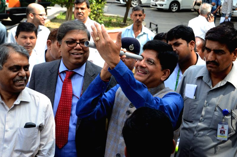 The Union Minister of State (Independent Charge) for Power, Coal and New and Renewable Energy Piyush Goyal at the flagging-off ceremony of NTPC`s Mobile Science Lab at Shram Shakti Bhawan ...