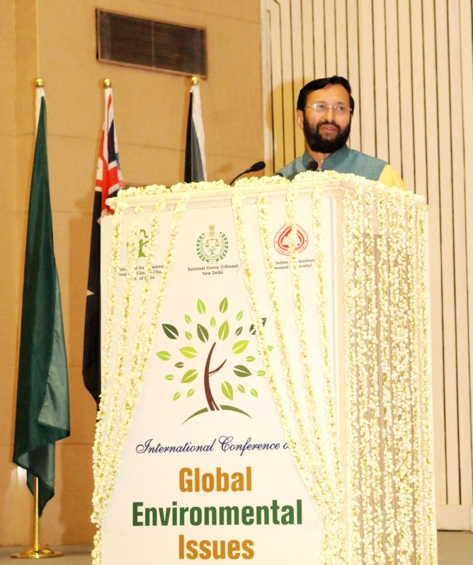 The Union MoS Environment, Forest and Climate Change (Independent Charge) Prakash Javadekar addresses at the inauguration of `International Conference on Global Environment Issues` ...